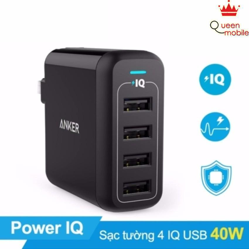 Sạc ANKER PowerPort 4 cổng 40w có PowerIQ (Đen)
